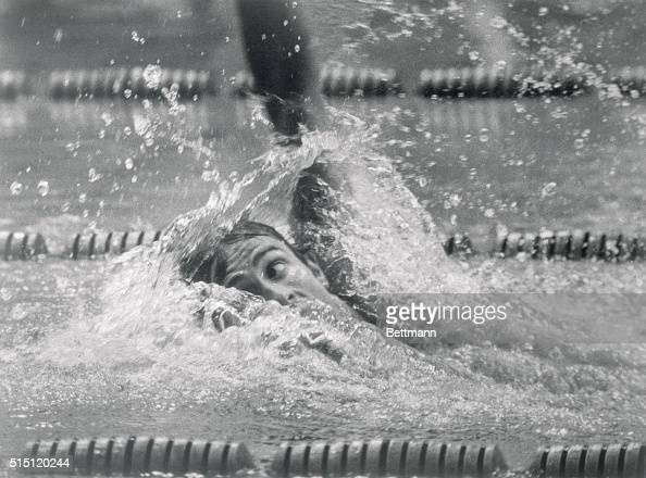 Roland Matthes of East Germany is shown winning the final of the 100 meters mens backstroke at the Munich Olympics and setting a New Olympic record...