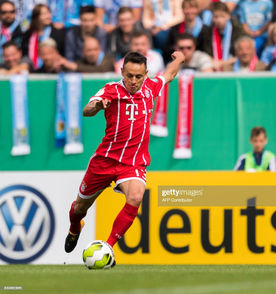 Munich's Brazilian defender Rafinha plays the ball during the German football Cup DFB Pokal first round match between German third division football club Chemnitzer FC and German first division football club FC Bayern Munich in Chemnitz eastern Germany, on August 12, 2017.