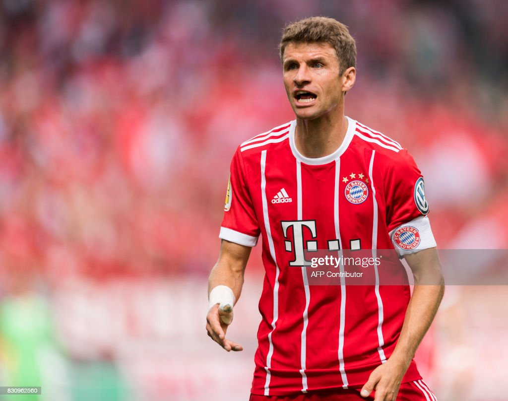 Munich's forward Thomas Mueller reacts during the German football Cup DFB Pokal first round match between German third division football club Chemnitzer FC and German first division football club FC Bayern Munich in Chemnitz eastern Germany, on August 12, 2017.