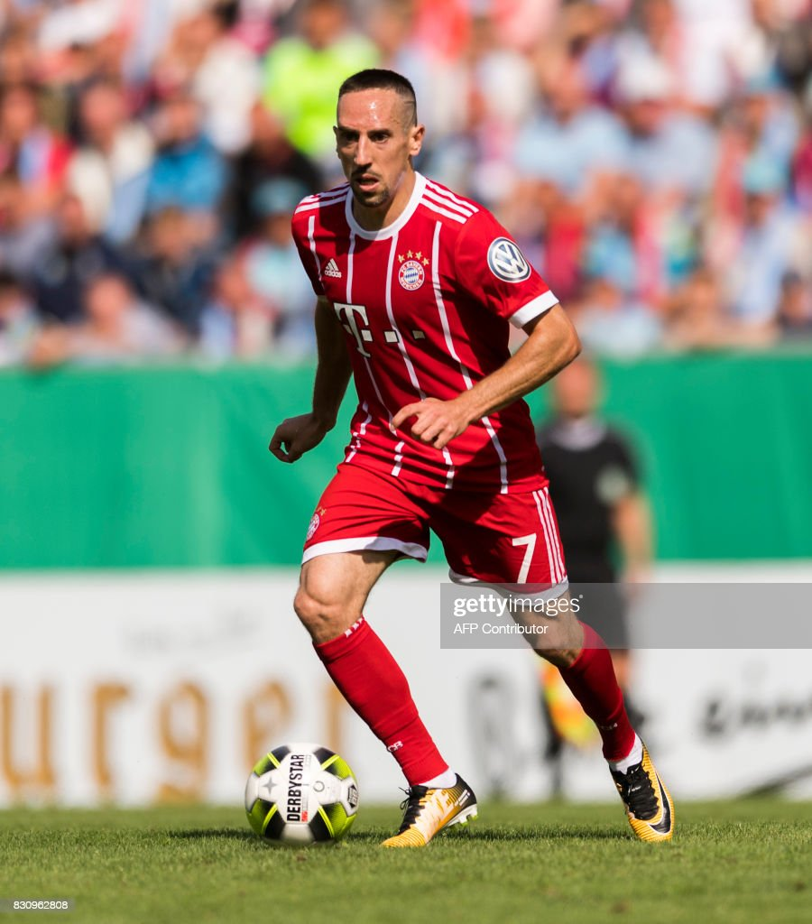 Munich's French midfielder Franck Ribery plays the ball during the German football Cup DFB Pokal first round match between German third division football club Chemnitzer FC and German first division football club FC Bayern Munich in Chemnitz eastern Germany, on August 12, 2017.