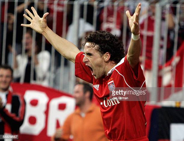 Munich's Owen Hargreaves celebrates after he scored 10 during the Bundesliga match between Bayern Munich and Borussia Monchengladbach at the Allianz...