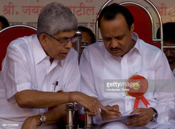 Municipal Labour Union President Sharad Rao with Deputy Chief Minister of Maharashtra Ajit Pawar at a rally of Municipal Labour Union at Kamgar...