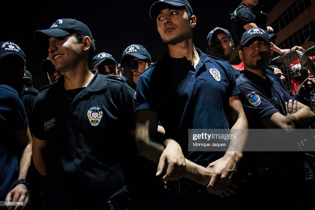 Municipal police guard the Prime Minister AKP Supporters at Ataturk International Airport coome out by the thousands to support Prime Minister...
