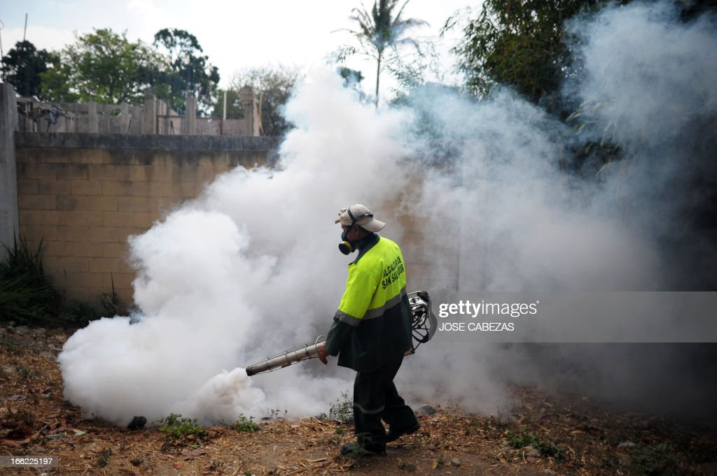 A municipal worker fumigates at Madreselva neighborhood to fight the mosquito Aedes aegypti, the vector of the dengue fever in San Salvador, El Salvador on April 10, 2013. Salvadorean goverment issued an alert in 29 districts of El Salvador for the the high number of cases of dengue fever. AFP PHOTO/ Jose CABEZAS