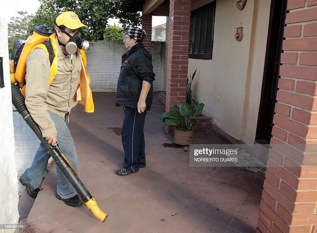Municipal workers fumigate a house in Asuncion, during an operation to eradicate the Aedes aegypti mosquito, vector of the dengue fever on May 25, 2013. Dengue fever has caused 57 deaths in Paraguay in 2013 . AFP PHOTO/Norberto DUARTE