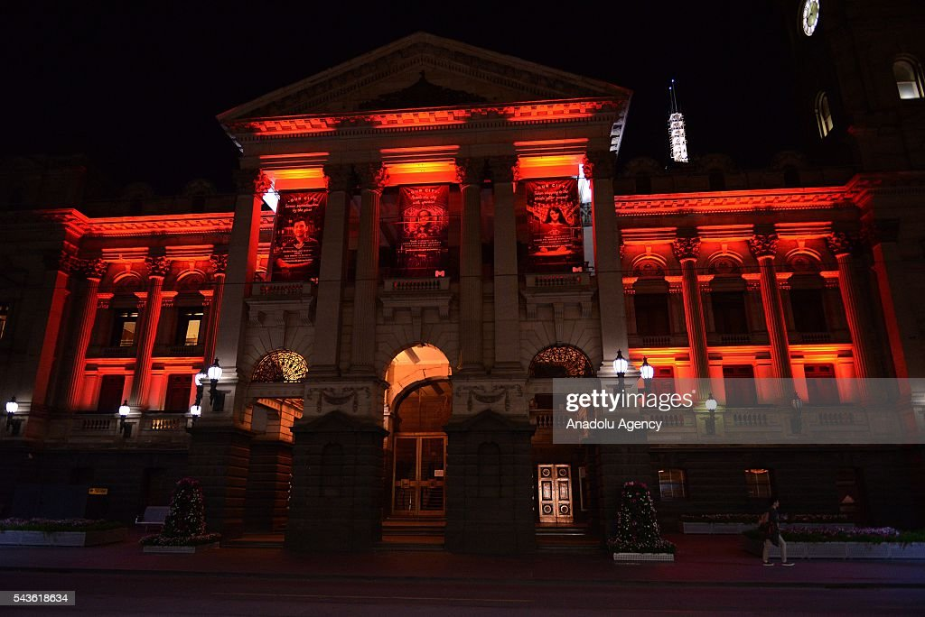 Municipality of Melbourne building lit up in the colours of the Turkish national flag after Australian Prime Minister Malcolm Turnbull and Australian Foreign Minister Julie Bishop's press conference on Istanbul Ataturk International Airport terror attacks, in Melbourne, Australia on June 29, 2016.