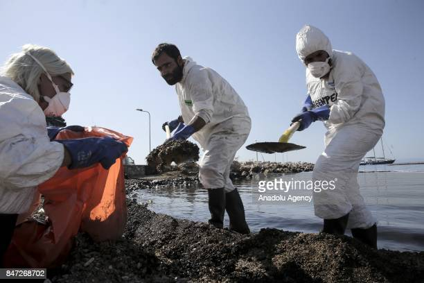 Municipality staff shovel oil mixed sand near oil covered sea spilled from a sinked cargo ship causing an environmental disaster in Athens Greece on...