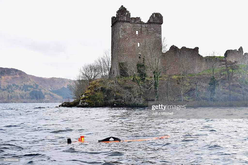 Munin robot operated by Norwegian company Kongsberg Maritime is seen next to Urquhart Castle at Loch Ness on April 13 2016 in Drumnadrochit Scotland...