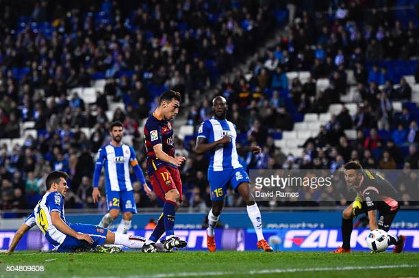 Munir el Haddadhi of FC Barcelona scores his team's second goal during the Copa del Rey Round of 16 second leg match between RCD Espanyol and FC...