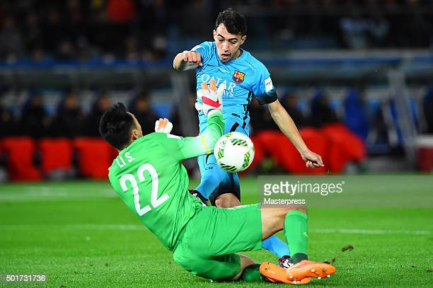 Munir El Haddadi of Barcelona in action during the FIFA Club World Cup Semi Final match between Barcelona and Guangzhou Evergrande FC at...