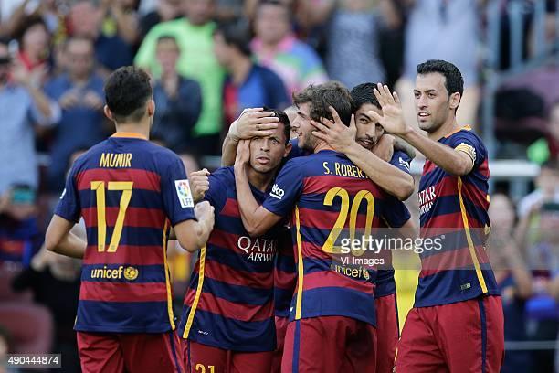 Munir El Haddadi of FC Barcelona Adriano of FC Barcelona Sergio Roberto of FC Barcelona Luis Suarez of FC Barcelona Sergio Busquets of FC Barcelona...