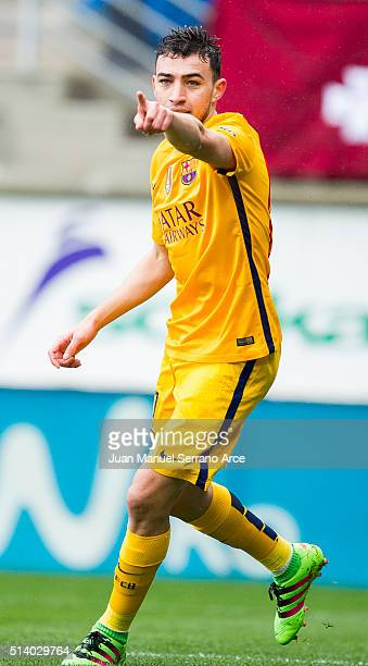 Munir El Haddadi of FC Barcelona celebrates after scoring goal during the La Liga match between SD Eibar and FC Barcelona at Ipurua Municipal Stadium...