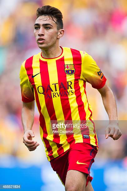 Munir El Haddadi of FC Barcelona gestures during the La Liga match between FC Barcelona and Athletic Club at Camp Nou on September 13 2014 in...