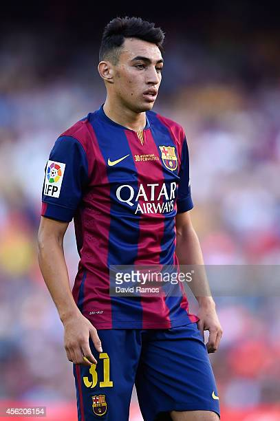 Munir El Haddadi of FC Barcelona looks on during the La Liga match between FC Barcelona and Granada CF at Camp Nou on September 27 2014 in Barcelona...