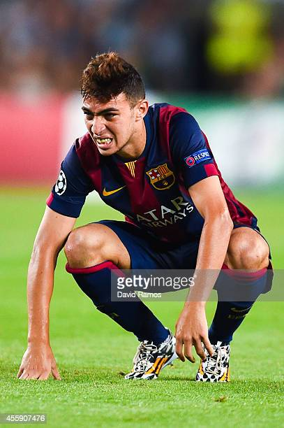 Munir El Haddadi of FC Barcelona looks on during the UEFA Champions League Group F match between FC Barcelona and APOEL FC at the Camp Nou Stadium on...