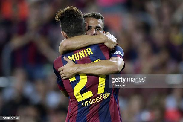 Munir El Haddadi of FC Barcelona Sandro Ramirez of FC Barcelona during the Joan Gamper Trophy match between FC Barcelona and Leon FC at Camp Nou on...