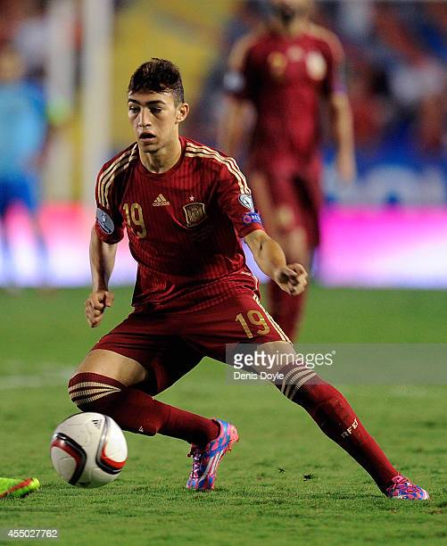 Munir El Haddadi of Spain in action during the UEFA EURO 2016 Group C Qualifier between Spain and FYR of Macedonia at Estadio Ciutat de Valencia on...