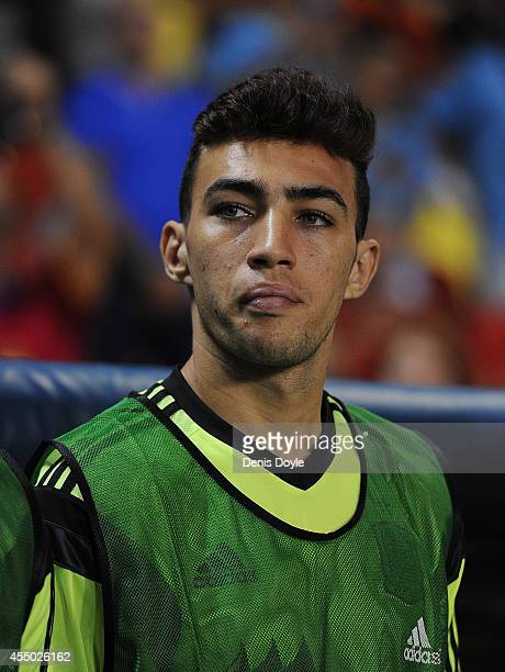 Munir El Haddadi of Spain looks on prior to the start of the UEFA EURO 2016 Group C Qualifier between Spain and FYR of Macedonia at Estadio Ciutat de...