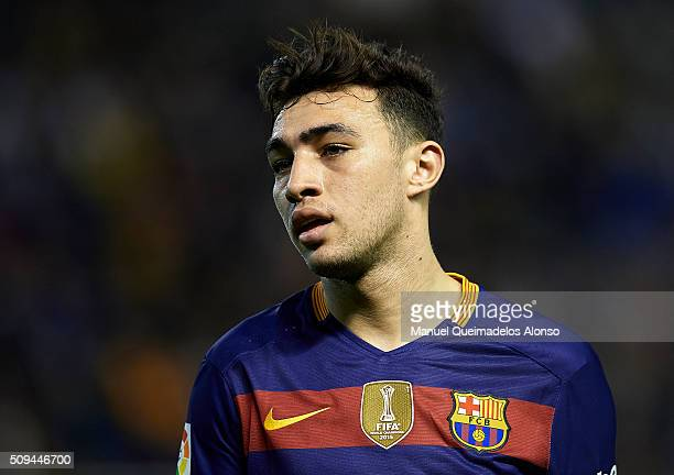 Munir of Barcelona reacts during the Copa del Rey Semi Final second leg match between Valencia CF and FC Barcelona at Estadio Mestalla on February 10...
