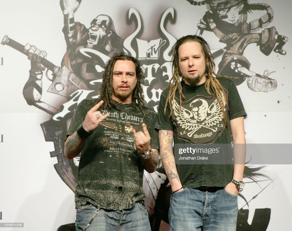 Munky and Jonathan Davis of Korn during 2006 MTV Asia Awards Press Conference at Hilton Millenium Bangkok in Bangkok Thailand