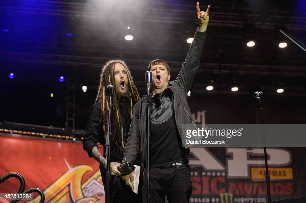 Munky and Ray Luzier of Korn attend the 2014 Alternative Press Music Awards at Rock and Roll Hall of Fame and Museum on July 21 2014 in Cleveland Ohio
