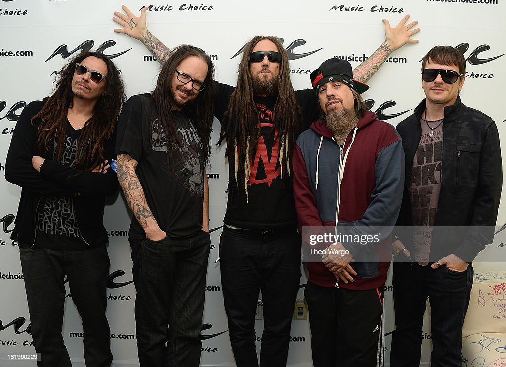 Munky, <a gi-track='captionPersonalityLinkClicked' href=/galleries/search?phrase=Jonathan+Davis&family=editorial&specificpeople=221592 ng-click='$event.stopPropagation()'>Jonathan Davis</a>, Head, <a gi-track='captionPersonalityLinkClicked' href=/galleries/search?phrase=Fieldy&family=editorial&specificpeople=573012 ng-click='$event.stopPropagation()'>Fieldy</a> and Ray Luzier of Korn visit Music Choice on September 26, 2013 in New York City.