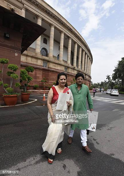 Munmun Sen and TMC MP Lok Sabha Tapas Pal during the Parliament Monsoon Session on July 18 2016 in New Delhi India A total of 25 bills including the...