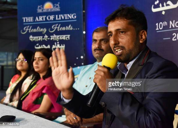 Munnir Ahmed who has put down arms for peace in Kashmir during PaigameMohabbat an initiative by Sri Sri Ravi Shankar to bring the family of martyrs...