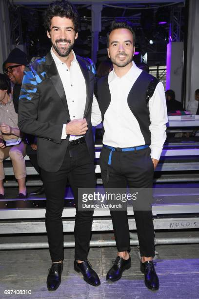 Munoz Miguel Angel and Luis Fonsi arrive at the Dsquared2 show during Milan Men's Fashion Week Spring/Summer 2018 on June 18 2017 in Milan Italy