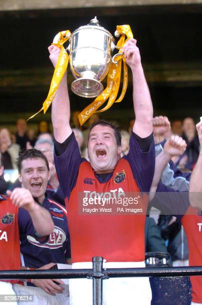 Munster captain Anthony Foley celebrates with the Celtic Cup after beating Llanelli Scarlets