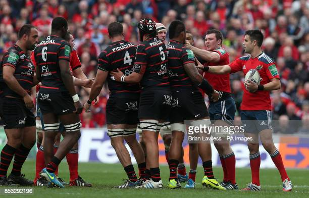Munster captain Peter O'Mahony and Conor Murray tussle with Toulouse players during the Heineken Cup Quarter Final match at Thomond Park Limerick