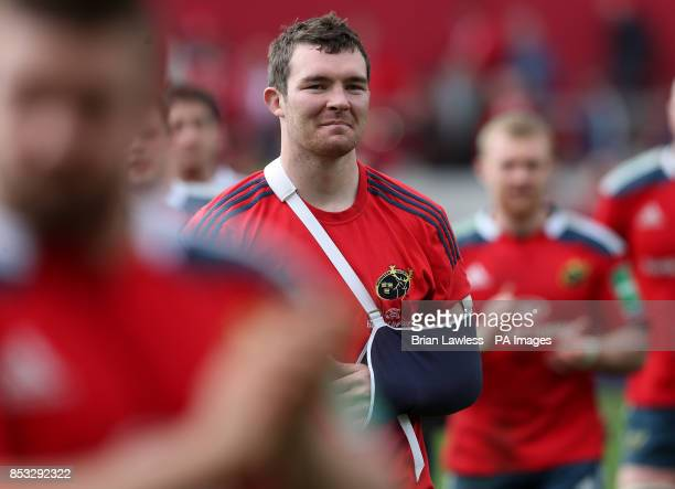Munster captain Peter O'Mahony with his arm in a sling after the Heineken Cup Quarter Final match at Thomond Park Limerick
