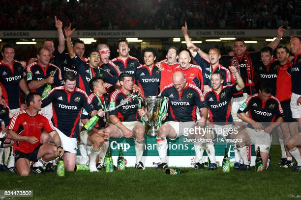 Munster celebrate with the trophy after defeating Toulouse in the Heineken Cup Final at the Millennium Stadium Cardiff