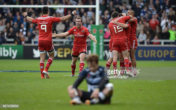 Munster celebrates after Ian Keatley's match winning drop goal during the European Rugby Champions Cup match between Sale Sharks and Munster at AJ...