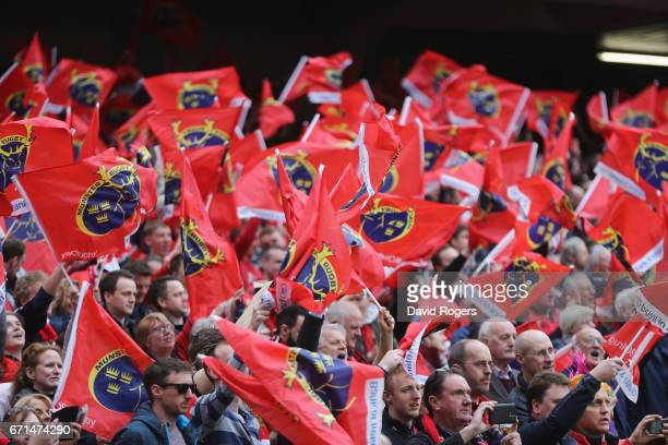 Munster fans celebrate during the European Rugby Champions Cup semi final match between Munster and Saracens at the Aviva Stadium on April 22 2017 in...