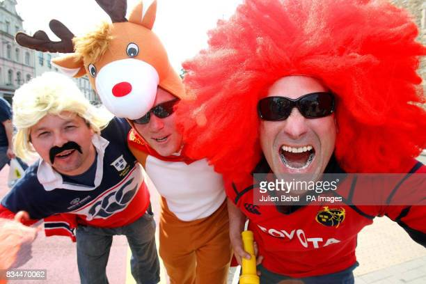 Munster fans Conor O'Donovan Peter O'Donovan and Rory Fitzpatrick ahead of the Heineken Cup Final at the Millennium Stadium Cardiff