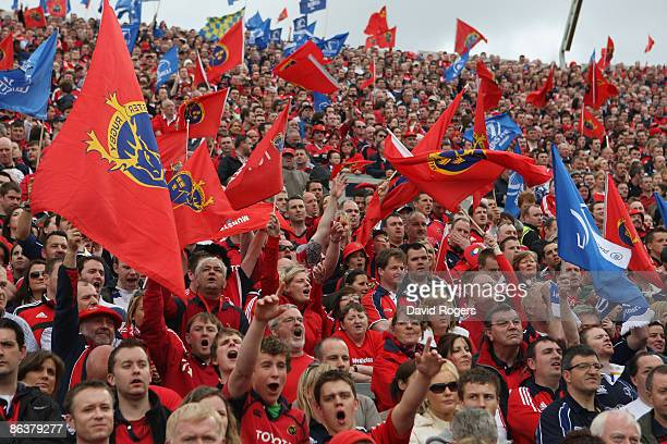 Munster fans pictured during the Heineken Cup semi final match between Munster and Leinster at Croke Park on May 2 2009 in Dublin Ireland