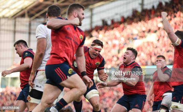 Munster Ireland 1 April 2017 CJ Stander of Munster celebrates after scoring his side's second try during the European Rugby Champions Cup...