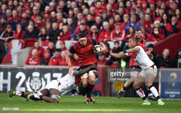 Munster Ireland 1 April 2017 CJ Stander of Munster is tackled by Yacouba Camara of Toulouse during the European Rugby Champions Cup QuarterFinal...