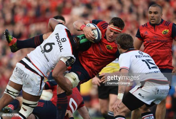 Munster Ireland 1 April 2017 CJ Stander of Munster is tackled by Thierry Dusautoir of Toulouse during the European Rugby Champions Cup QuarterFinal...