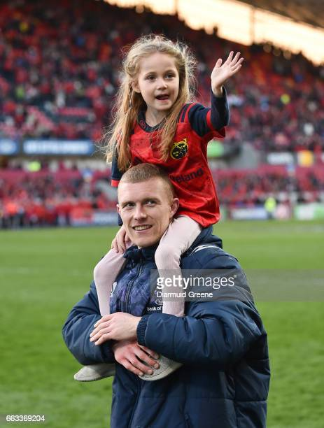 Munster Ireland 1 April 2017 Keith Earls of Munster along with his daughter Ella May after the European Rugby Champions Cup QuarterFinal match...