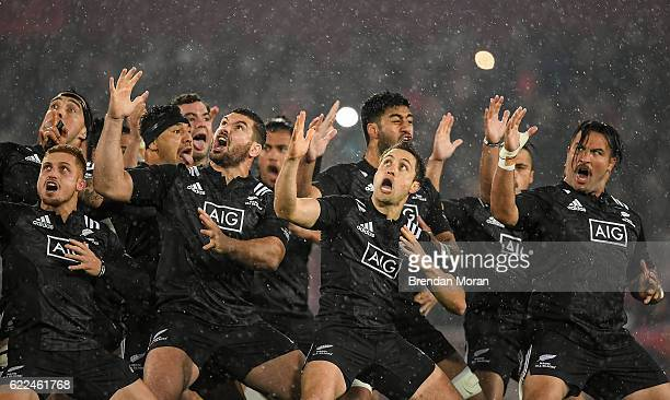 Munster Ireland 11 November 2016 The New Zealand Maori All Blacks perform 'The Haka' ahead of the match between Munster and the New Zealand Maori All...