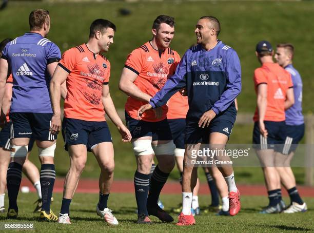 Munster Ireland 27 March 2017 Simon Zebo right Peter O'Mahony centre and Conor Murray of Munster during squad training at the University of Limerick...