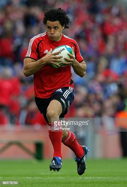 Munster player Doug Howlett runs with the ball during the Heineken Cup Semi Final between Munster and Leinster at Croke Park on May 2 2009 in Dublin...