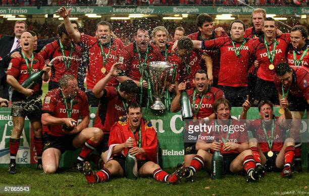 Munster Players celebrate following victory during the Heineken Cup Final between Munster and Biarritz Olympique at the Millennium Stadium on May 20...