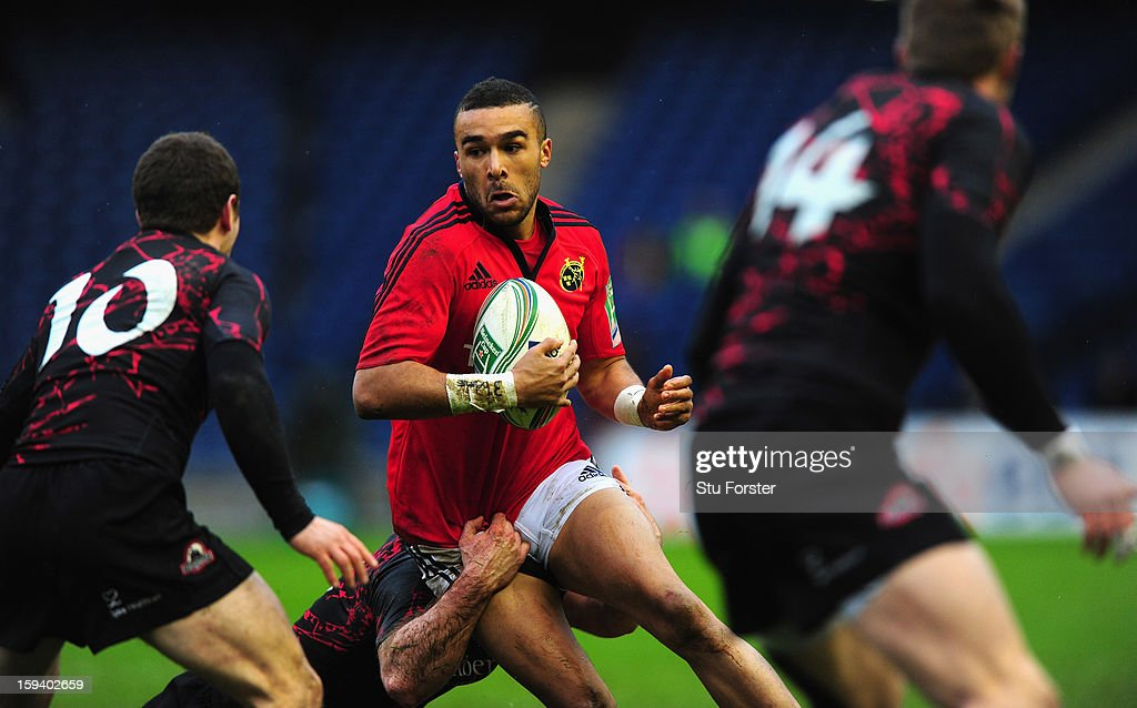 Munster wing Simon Zebo in action during the Heineken Cup Round 5 match between Edinburgh and Munster at Murrayfield Stadium on January 13, 2013 in Edinburgh, Scotland.