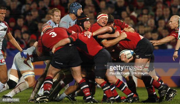 Munster's Marcus Horan hangs onto the ball during a srum with fellow players against Bourgoin during the Heineken Cup match at Thomond Park Limerick
