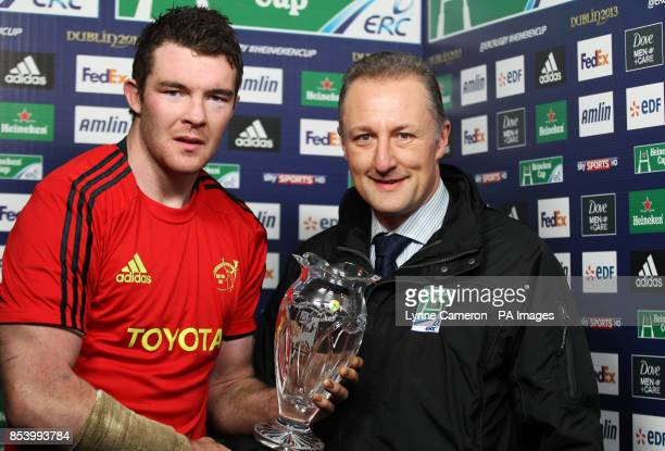 Munster's Peter O'Mahony with the man of the match award after the Heineken Cup Pool One match at Murrayfield Stadium Edinburgh
