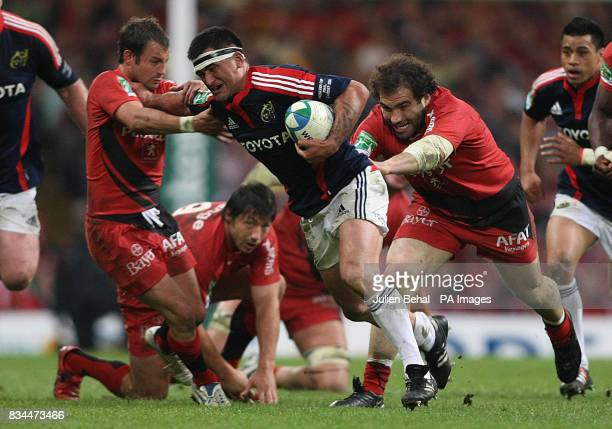 Munster's Rua Tipoki being tackled by Toulouse's Salvatore Perugin during the Heineken Cup Final at the Millennium Stadium Cardiff