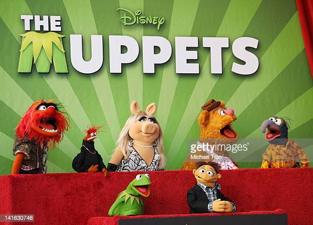 Muppet characters Kermit Miss Piggy Walter Fozzie Animal Gonzo Pepe attend the ceremony honoring The Muppets with a Star on The Hollywood 'WOCKA...